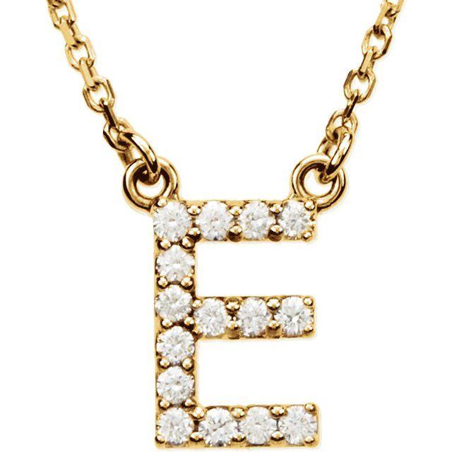 14K Yellow Initial E 1/8 CTW Diamond 16