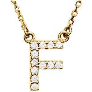 "14K Yellow Initial F 1/8 CTW Diamond 16"" Necklace"