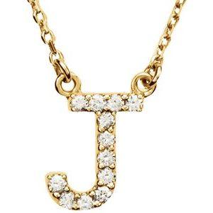 "14K Yellow Initial J .08 CTW Diamond 16"" Necklace"