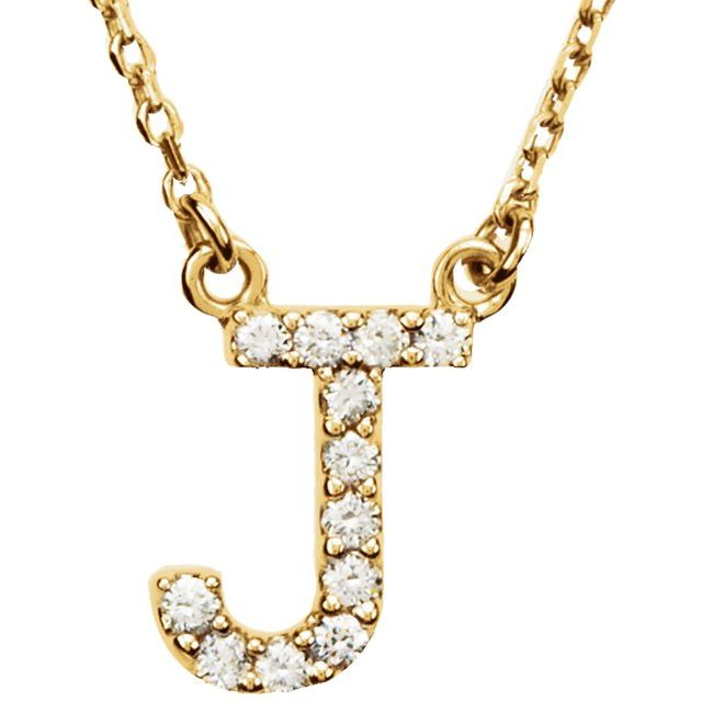 14K Yellow Initial J .08 CTW Diamond 16