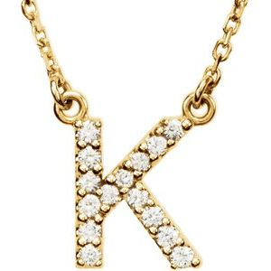 "14K Yellow Initial K 1/8 CTW Diamond 16"" Necklace"