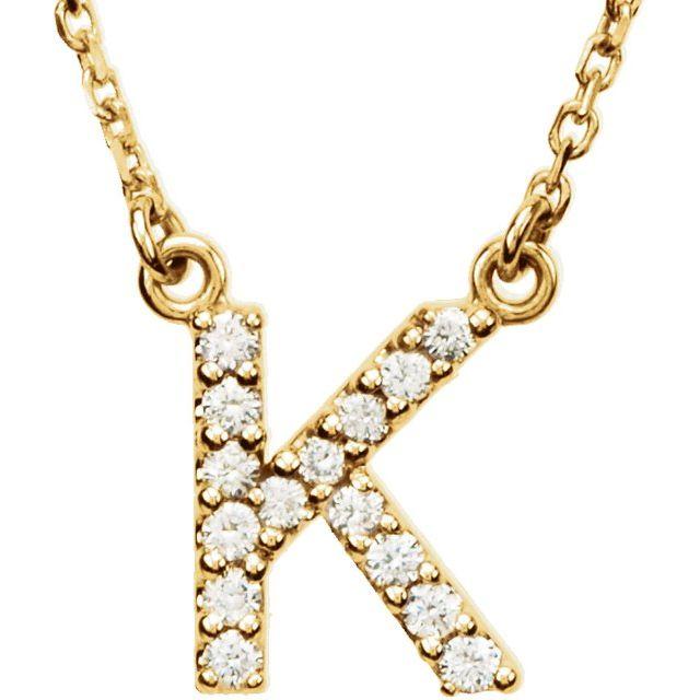 14K Yellow Initial K 1/8 CTW Diamond 16