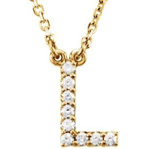 """14K Yellow Letter """"L"""" .08 CTW Diamond 16"""" Necklace"""