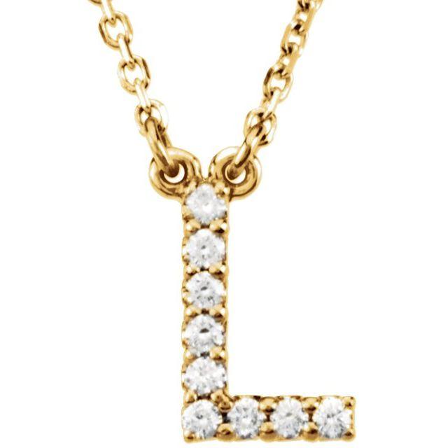 14K Yellow Initial L .08 CTW Diamond 16