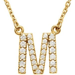 "14K Yellow Initial M 1/6 CTW Diamond 16"" Necklace"