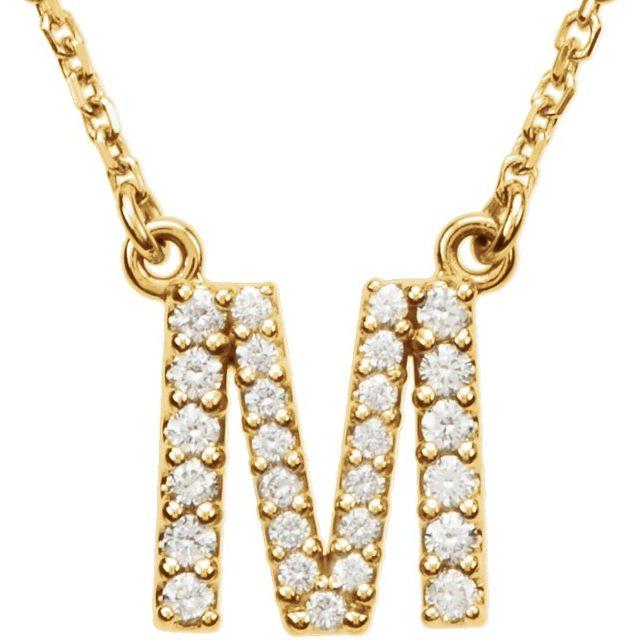 14K Yellow Initial M 1/6 CTW Diamond 16