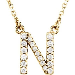 "14K Yellow Initial N 1/8 CTW Diamond 16"" Necklace"