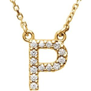 "14K Yellow Initial P 1/6 CTW Diamond 16"" Necklace"