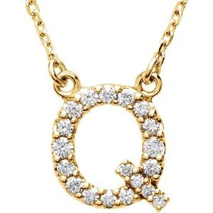"14K Yellow Initial Q 1/8 CTW Diamond 16"" Necklace"