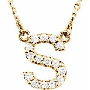 "14K Yellow Initial S 1/8 CTW Diamond 16"" Necklace"