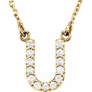 """14K Yellow Initial U 1/8 CTW Diamond 16"""" Necklace"""