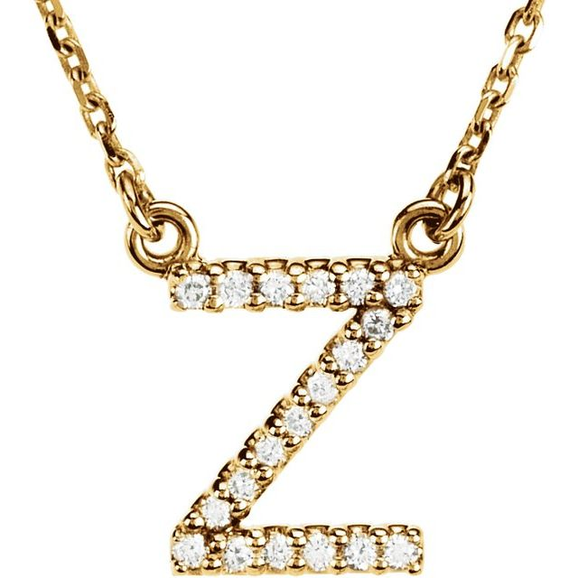 14K Yellow Initial Z .08 CTW Diamond 16