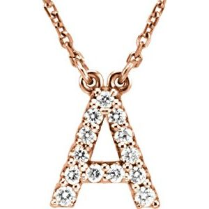 "14K Rose Initial A 1/6 CTW Diamond 16"" Necklace"