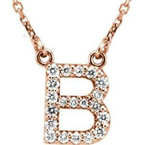 "14K Rose Initial B 1/8 CTW Diamond 16"" Necklace"