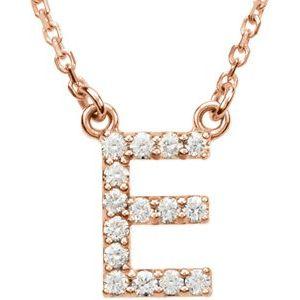 "14K Rose Initial E 1/8 CTW Diamond 16"" Necklace"