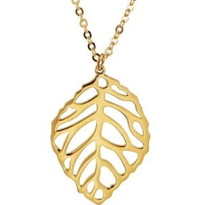 """14K Yellow Leaf 18"""" Necklace"""