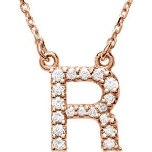 "14K Rose Initial R 1/8 CTW Diamond 16"" Necklace"