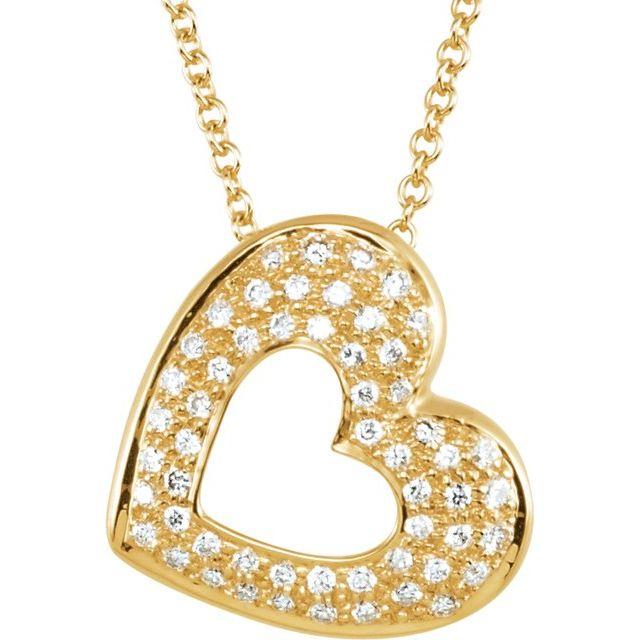 14K Yellow 1/4 CTW Diamond Heart 18