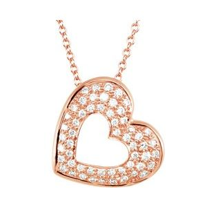 "14K Rose 1/4 CTW Diamond Heart 18"" Necklace"