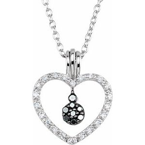 "Sterling Silver 1/6 CTW Black & White Diamond Heart 18"" Necklace"