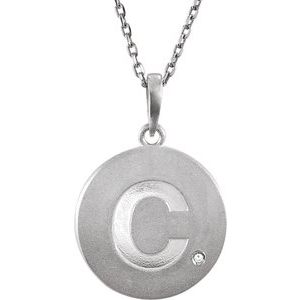 "Sterling Silver .005 CTW Diamond Initial C 18"" Necklace"
