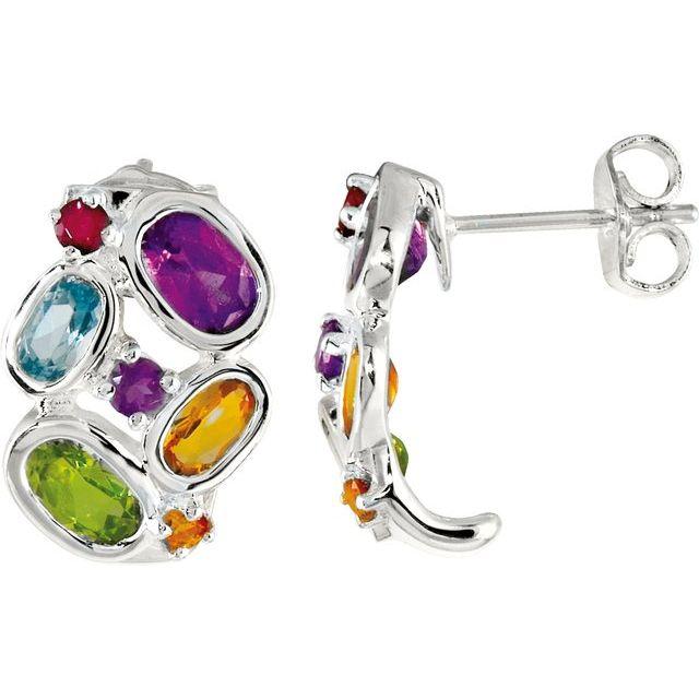 Sterling Silver Multi-Gemstone J-Hoop Earrings