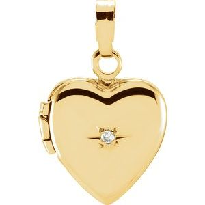 14K Yellow .005 CT Diamond Heart Shaped Locket