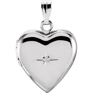Sterling Silver .01 CTW Diamond Heart Locket