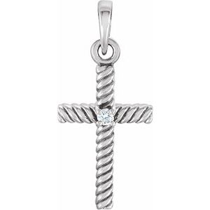 14K White .015 CTW Diamond 18.9x8.65 mm Rope Design Cross Pendant