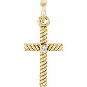 14K Yellow .015 CTW Diamond 18.9x8.65 mm Rope Design Cross Pendant