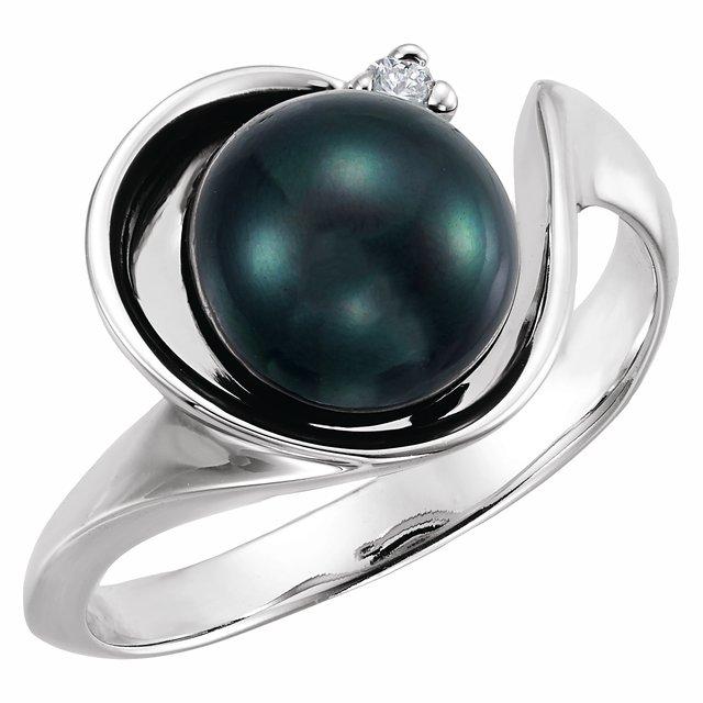 14K White Akoya Cultured Pearl & .03 CTW Diamond Ring