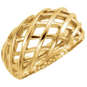 14K Yellow 11 mm Latticework Dome Ring
