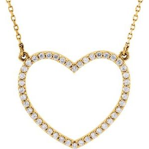 "14K Yellow 1/4 CTW Diamond Heart 16"" Necklace"
