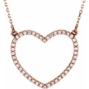 """14K Rose 1/8 CTW Diamond Petite Heart 16"""" Necklace"""