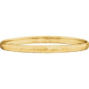 14K Yellow 5.1 mm Hammered Bangle Bracelet