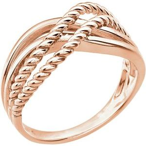 14K Rose Crossover Rope Design Ring