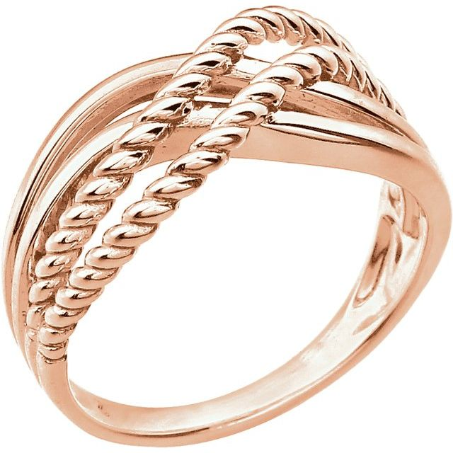 14K Rose Crossover Rope Design Ring