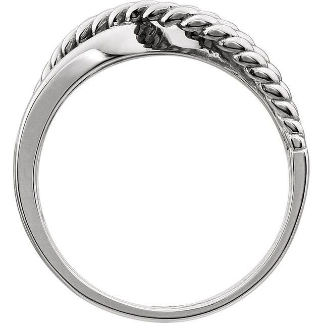 14K White Crossover Rope Design Ring
