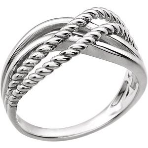 14K White Crossover Rope Design Ring