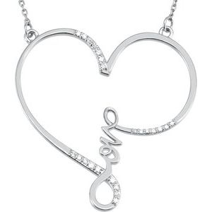 "Sterling Silver 1/8 CTW Diamond Infinity-Inspired Love Heart 18"" Necklace"