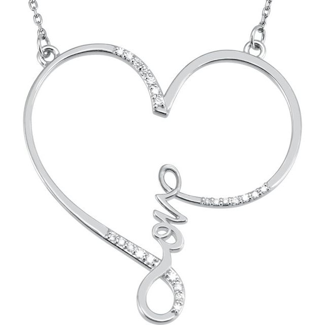 Sterling Silver 1/8 CTW Diamond Infinity-Inspired Love Heart 18