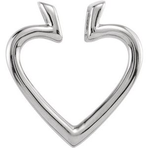 14K White 19.5x18.25 mm Heart Pendant Enhancer