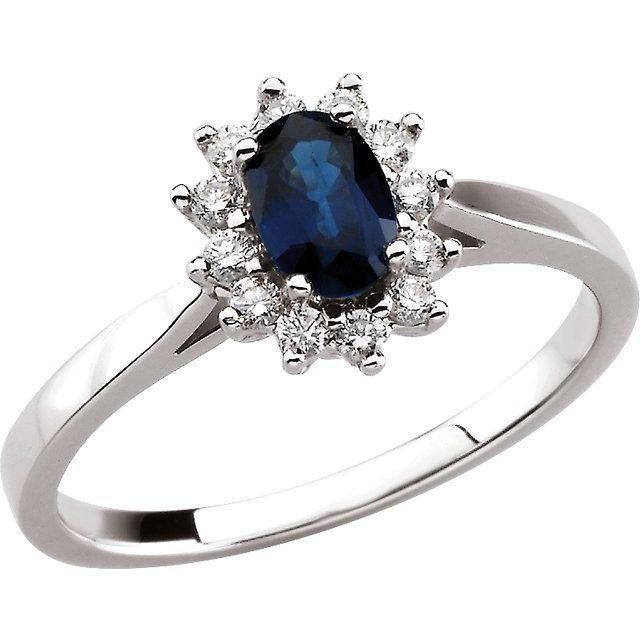 Blue Sapphire & Diamond Halo-Style Ring