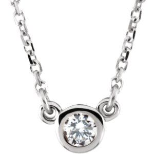 "14K White 1/10 CT Diamond Solitaire 18"" Necklace"