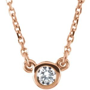 "14K Rose 1/10 CT Diamond Solitaire 18"" Necklace"