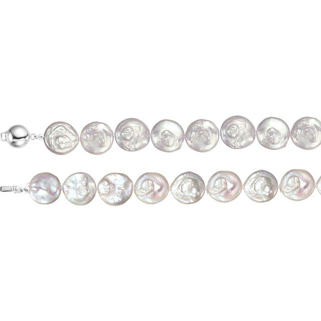 Sterling Silver White Freshwater Cultured Coin Pearl 18