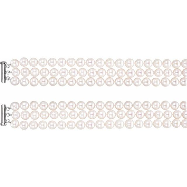 Sterling Silver Freshwater Cultured Pearl 3 Row 22