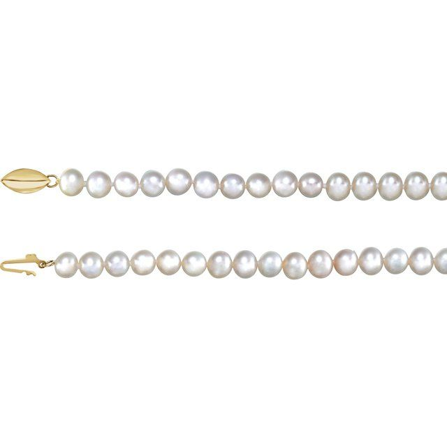 14K Yellow Freshwater Cultured Pearl 18