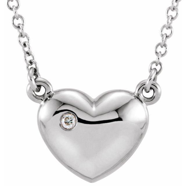 14K White .01 CTW Diamond Heart 16.5