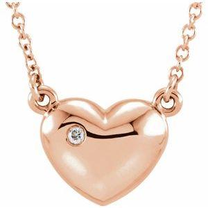 "14K Rose .01 CTW Diamond Heart 16.5"" Necklace"